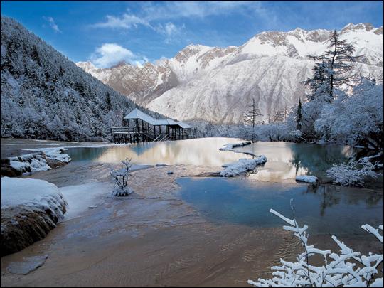 九寨沟冬季美景图